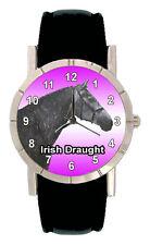 Irish Draught Pony Horse Mens Ladies Genuine Leather Quartz Wrist Watch SA1274