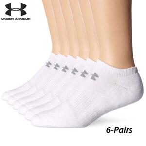 UA Socks: 6-PAIR Charged Cotton 2.0 No Show (L)- White