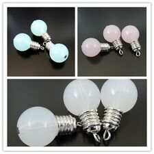 6PCs Blue Pink White Cute Light Bulbs Pendant Charms Jewelry Finding 25*14*14mm