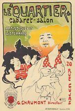 Original Vintage Poster French Le Quartier Cabaret Salon Literary 1897
