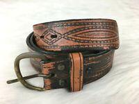 Wrangler Brown Mens Belt Sz 34 Genuine Hand Tooled Leather