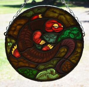 *Vintage French Stained Leaded Glass Hand Painted Panel with Salamander