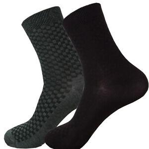4 Pair Men Bamboo Dress Socks Size 9-11 Brown & Gray Mid Calf SHIPS FROM USA