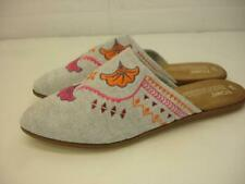 Women's 8 M Toms Jutti Embroidered Mules Gray Flat Slip-On Shoes Slipper Loafers