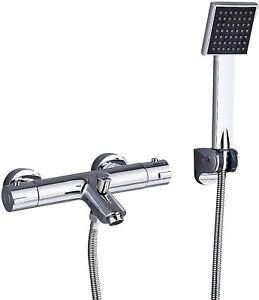 Badewannenarmatur Thermostat Duschset Wasserhahn Badewanne Wasserfall mit Brasue
