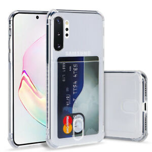 For Samsung S21 S20 Note 10 Plus S10 A51 A71 A32 Clear Card Slot Soft Case Cover