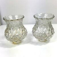 Vintage Amber Clear Glass Lamp Globe Shade Quilted Diamond Pattern-set Of 2