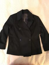 Bitten by Sarah Jessica Parker Women's Black Short Button Up Peacoat Jacket (S)