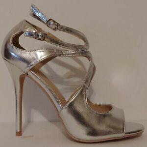 "NEW!! Pleaser Amuse Silver 5"" Heels Size 9M US 39M EUR"