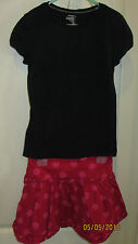 Youth Kids Girls Large 10 12 Old Navy Outfit Black SS Shirt Red Polka Dot Skirt