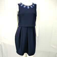 Betsy & Adam Navy Blue Popover Cocktail Dress Jeweled Size 6 NWT MSRP $210