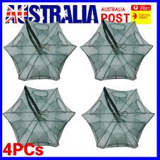 4pcs Foldable Fishing Shrimp Fish Crab Yabbie Bait Net Trap Cast DIP Cage 6 Hole