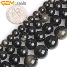 """Natural Gemstone Golden Obsidian Round Beads For Jewellery Making 15"""" Big Hole"""