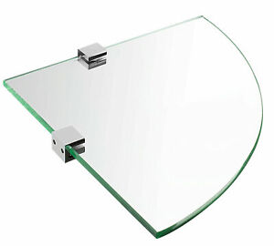 Mount-It! Corner Wall Mounted Glass Shelf   For Bathroom and Cabinet