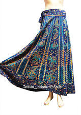 Cotton Long Skirt Wrap Indian Blue Women Ethnic Floral Rapron Print New Around