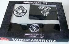 SONS OF ANARCHY GIFT SET . WALLET - BELT - KEYRING NEW BOX.BIKER GOTHIC RRP £10=
