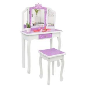Kids Vanity Table & Stool Princess Dressing Make Up Play Set for Girls Purple