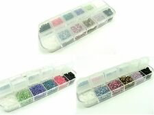 1 x BULK PACK of 10 Colors Glass SEED Spacer BEADS in Gift BOX ~total 80 gram~