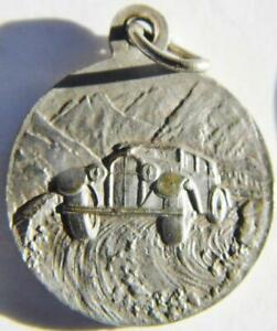 1930's Signed Silver Holy Medal by TAIRAC St. Christopher Protect Racing Drivers