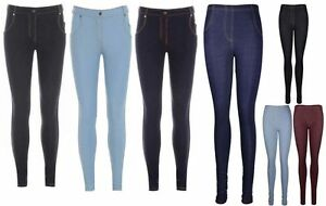 WOMENS SKINNY LEGGING FIT COLOURED STRETCH LADIES JEANS BUTTON JEGGINGS SIZE