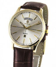 Cavadini Men's Watch Series Yukon Day Date Stainless Steel Gold-plated Silver