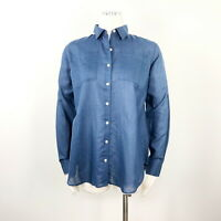 Gap Maternity Womens Shirt Blue Flowy Button Down Collar Blouse Top Pockets Up S