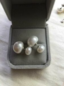 huge size DIY style double pearl 8-13MM obalte shape pearl earrings 925 silver