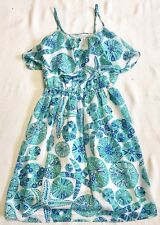 Lilly For Target Tiered Top Dress With Teal Blue/Green Sea Print Sz XS NWOT