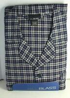 BILL BLASS Cotton Flannel PJs PAJAMAS Set Blue  Plaid Mens size Large  NWT  NEW