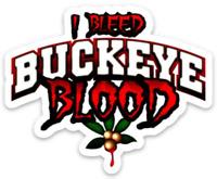 """O.S.U. Ohio State University Buckeyes """"I Bleed Buckeye Blood"""" w/ buckeye MAGNET"""