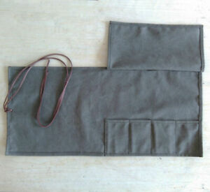 4 Slots Japanese Chef's Knife Roll Bag Canvas Leather Knife Storage Case Wallet