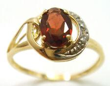 SYJEWELLERY 9CT YELLOW GOLD OVAL NATURAL GARNET & DIAMOND RING  SIZE N   R1324