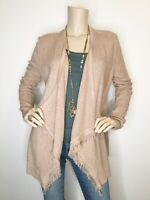 White House Black Market Medium Beige Fringe Open Asymmetrical Cardigan Sweater