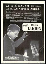 1945 Julius Katchen photo piano recital tour booking trade print ad