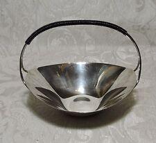 Modernariato Scandinavo Cestello di metallo argentato con manico riverstito di f