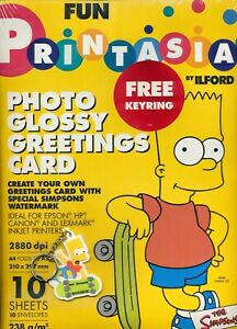 PRINTASIA SIMPSONS GLOSSY GREETINGS CARDS & KEYRING By Ilford - NEW & SEALED