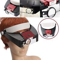 LED Stirnlupe Kopflupe Vergrößerungs Lupe Brillenlupe Licht Leuchte Stirnband CE