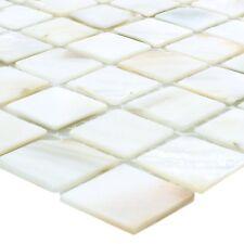 Muster Mosaikfliesen Muschel Perlmutt Kordon WEISS