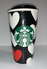 Starbucks White Hearts Black Ceramic Traveler Tumbler Mug 12 oz. 2015 New Rare
