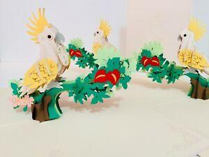 Origami Pop Cards Australian Cockatoo Native Bird 3D Pop Up Greeting Card Blank