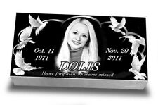 "20x10x3"" Human Photo Marker Tombstone, headstone, granite, memorial"