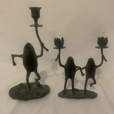 New ListingCouple Of Verdigris Frogs Candle Holder Brass.