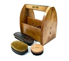 Vintage Wooden Pine Kiwi Shoe Shine / Polish Box / Caddy / With Brushes
