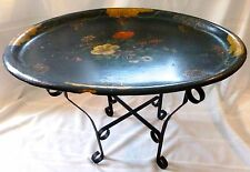 ANTIQUE PAPER MACHE TRAY on WROUGHT IRON Folding STAND Hand Painted VICTORIAN