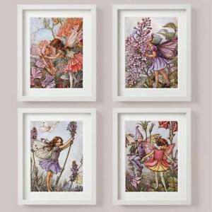 FLOWER FAIRIES SET 4 Picture Print LAVENDER Lilac SWEET PEA Columbine Purple