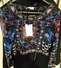 ZARA Blue Embroidered Beaded Top Shirt Blouse Size Small S Crop Top
