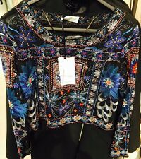 ZARA Blue Embroidered Beaded Top Shirt Blouse Size Large L Crop Top