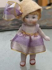 """Vtg Bisque Dollhouse Lady Doll German ? Jointed Original Dress & Hat 2 3/4"""" Tall"""