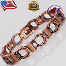 "PRETTY COPPER MAGNETIC GOLF BRACELET HORSE SHOE WOMEN WESTERN  Sze 8.5"" X02C"
