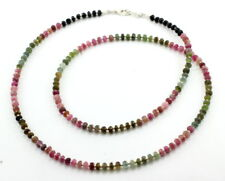 Necklace natural tourmaline faceted beaded gemstone 925 sterling silver 24 grams
